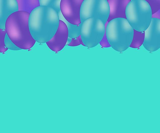 Beau fond turquoise de vecteur avec l'espace de ballons volants turquoise et violet pour le texte