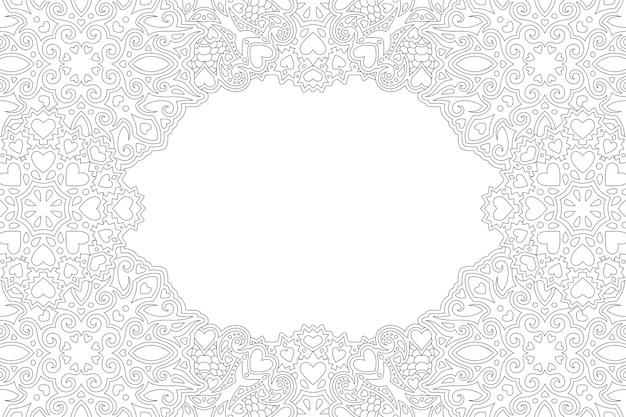 Beau fond de vecteur linéaire monochrome pour la page du livre de coloriage de la saint-valentin avec bordure rectangle abstrait et formes de coeur