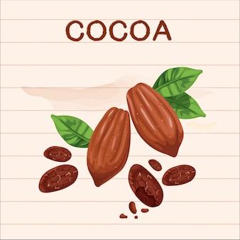 Beau fruit de cacao brun