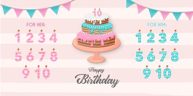 Beau gâteau avec des éléments d'anniversaire