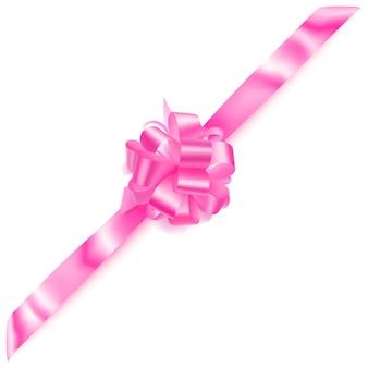 Beau grand arc d'angle fait de ruban rose avec ombre sur fond blanc
