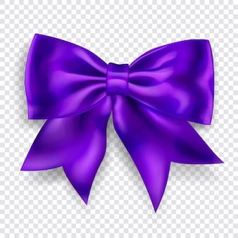 Beau grand arc fait de ruban violet avec ombre sur fond transparent
