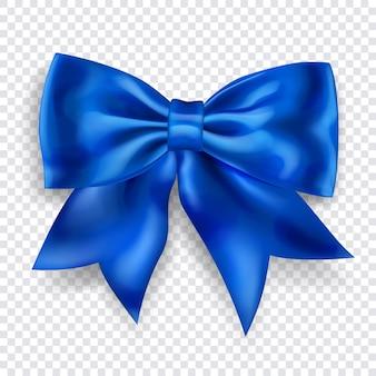 Beau grand arc en ruban bleu avec ombre sur transparent
