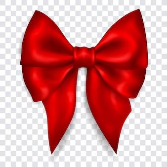 Beau grand arc en ruban rouge avec ombre sur transparent
