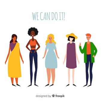 Beau groupe international de femmes dessiné à la main