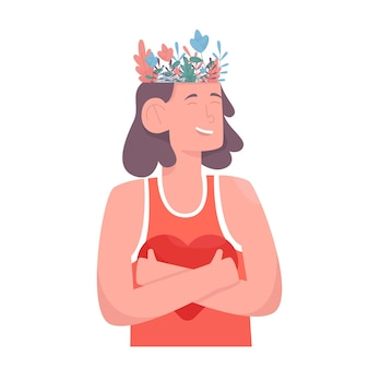 Beau jardin fleuri à l'intérieur de la tête féminine