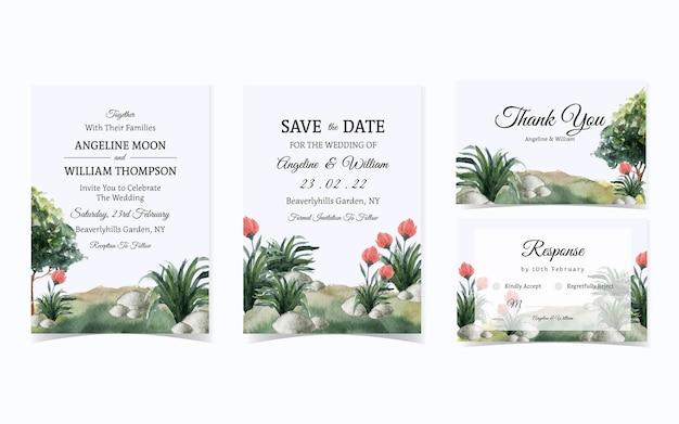 Beau jardin vert avec suite d'invitation de mariage de fleurs