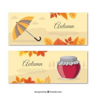 Beau jeu de bannières automne dessinés à la main
