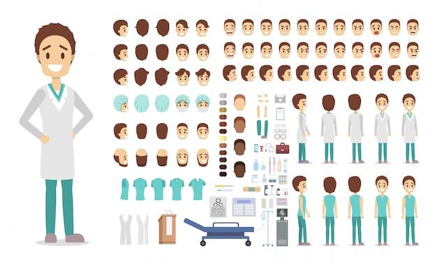 Beau jeu de caractères de médecin pour l'animation avec diverses vues, coiffures, émotions, poses et gestes.