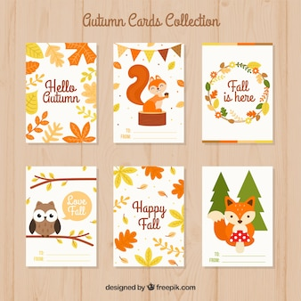 Beau jeu de cartes d'automne