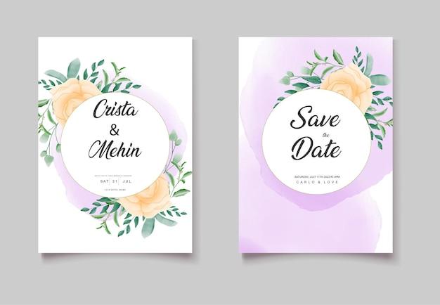 Beau jeu de cartes d'invitation florale de mariage floral aquarelle