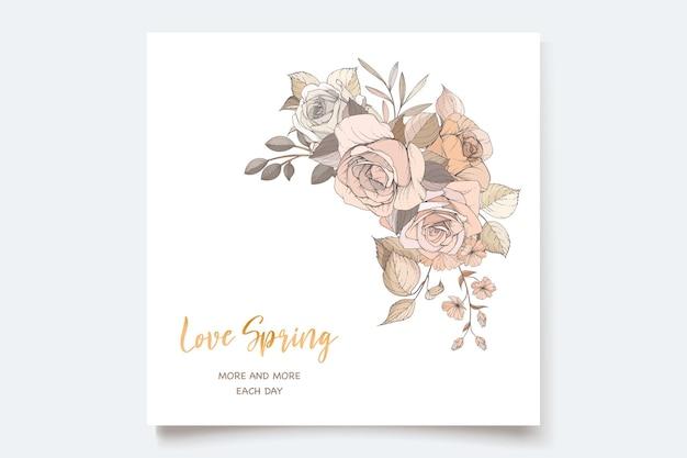 Beau jeu de cartes d'invitation florales de printemps
