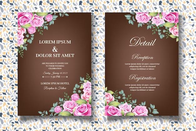 Beau jeu de cartes d'invitation de mariage floral