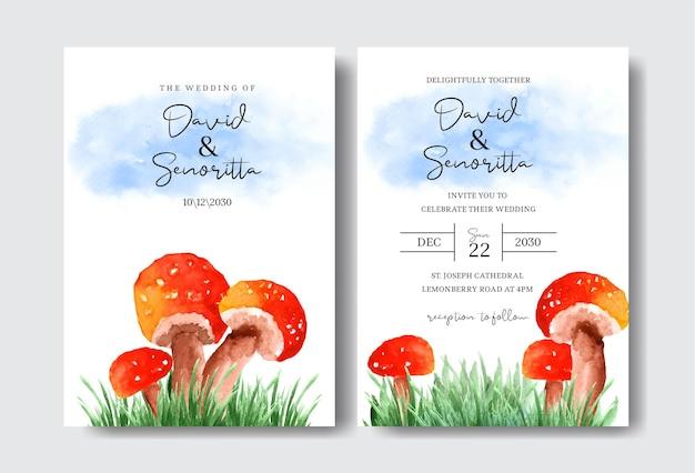Beau jeu de cartes de modèle d'invitation de mariage champignon aquarelle