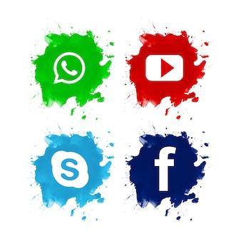 Beau jeu d'icônes de médias sociaux