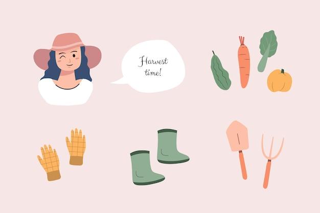 Beau jeune agriculteur dessiné à la main différents légumes et outils de jardin