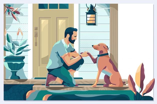 Beau jeune homme avec chien