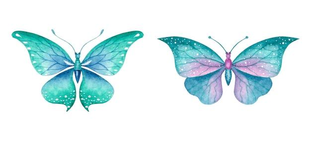 Beau joli ensemble de papillons aquarelle dessinés à la main