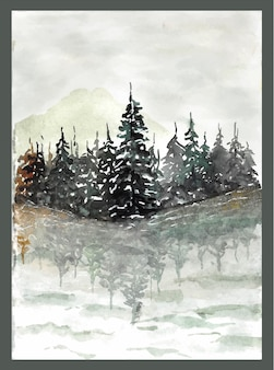 Beau lac avec la réflexion de la forêt de pins dans l'eau aquarelle peinture à la main