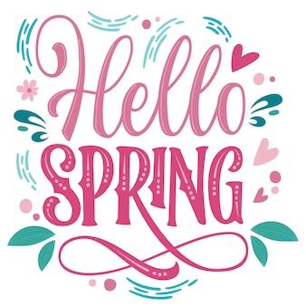 Beau lettrage de printemps, super design pour toutes fins - bonjour printemps.