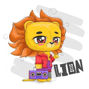 Beau lion aux cheveux lâches et ancien enregistreur radio