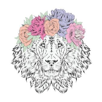 Beau lion en couronne de fleurs