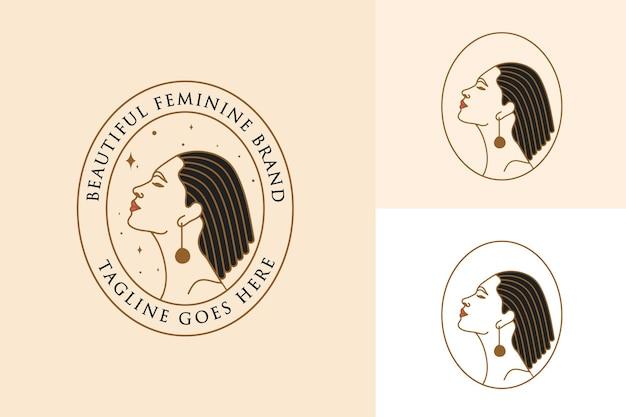 Beau logo féminin de visage et de cheveux de femme pour la marque de soins de la peau de spa de salon de beauté
