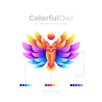 Beau logo de hibou coloré