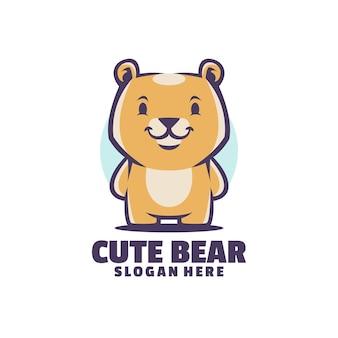 Beau logo moderne de mascotte d'ours mignon