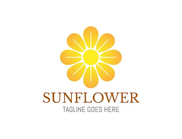 Beau logo de tournesol en fleurs