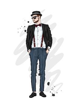 Beau mec dans des vêtements élégants