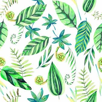 Beau modèle aquarelle avec des feuilles et des fleurs tropicales