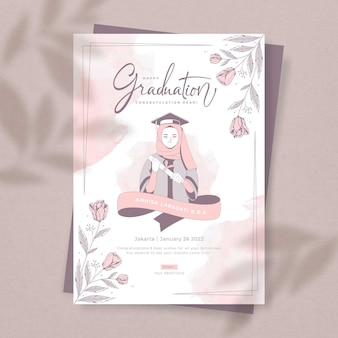 Beau modèle de cadeau de carte de graduation