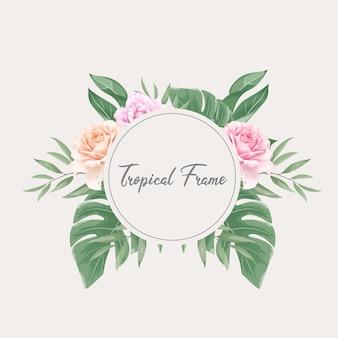 Beau modèle de cadre floral aquarelle tropicale