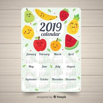 Beau modèle de calendrier 2019 avec fruits dessinés à la main