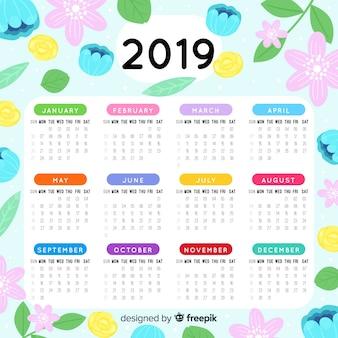 Beau modèle de calendrier 2019 avec style floral