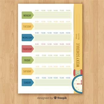 Beau modèle de calendrier hebdomadaire avec style coloré