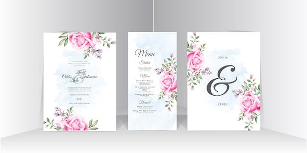 Beau modèle de carte de faisceaux d'invitation de mariage rose rose