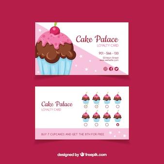 Beau modèle de carte de fidélité avec cupcake