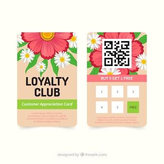 Beau modèle de carte de fidélité avec style floral