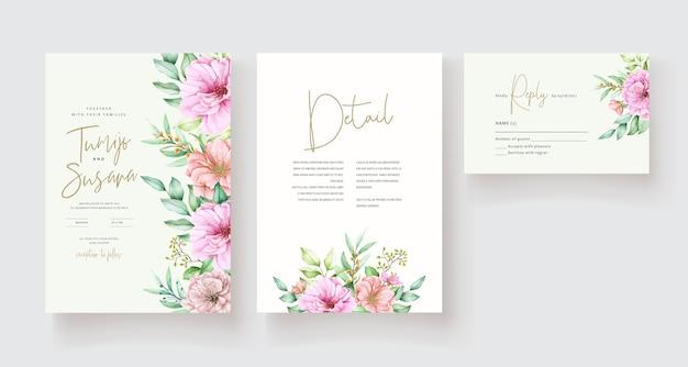 Beau modèle de carte d'invitation floral