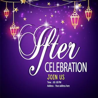 Un beau modèle de carte d'invitation ou un flyer pour la célébration d'un dîner à l'iftar