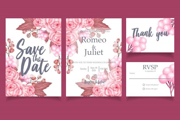 Beau modèle de carte invitation mariage aquarelle élégant