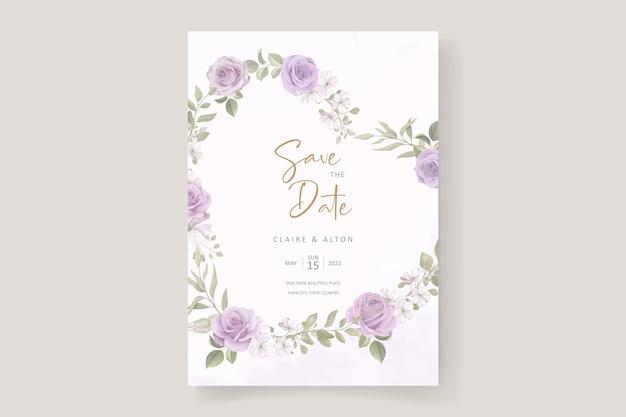Beau modèle de carte d'invitation de mariage avec décoration rose et feuille