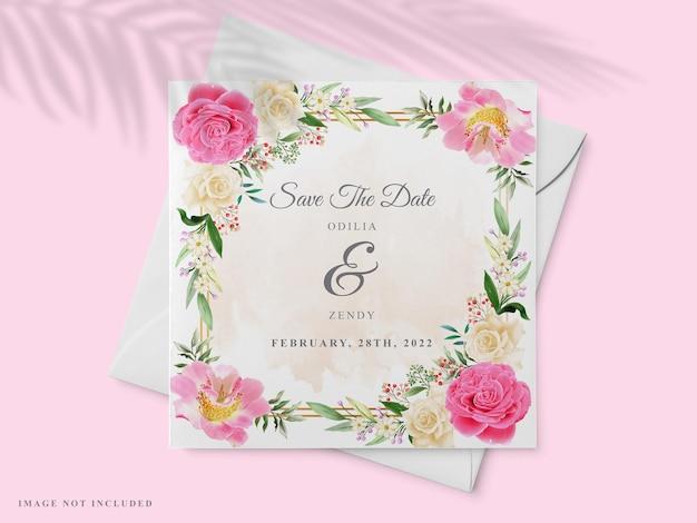 Beau modèle de carte d'invitation de mariage dessiné à la main avec un design rose rose