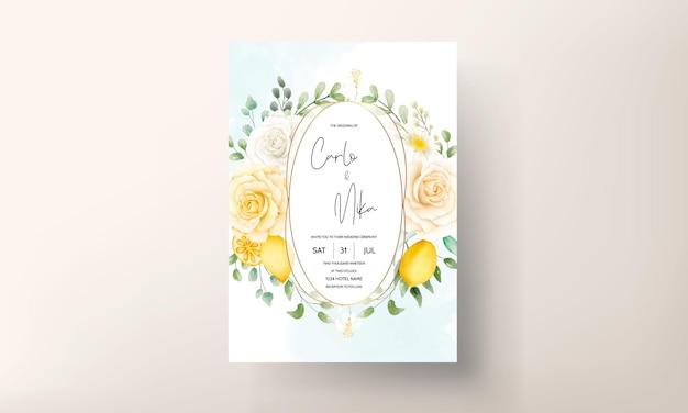 Beau modèle de carte d'invitation de mariage de feuilles florales d'été aquarelle