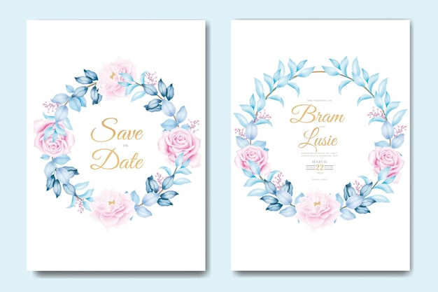 Beau modèle de carte d'invitation de mariage avec des feuilles florales