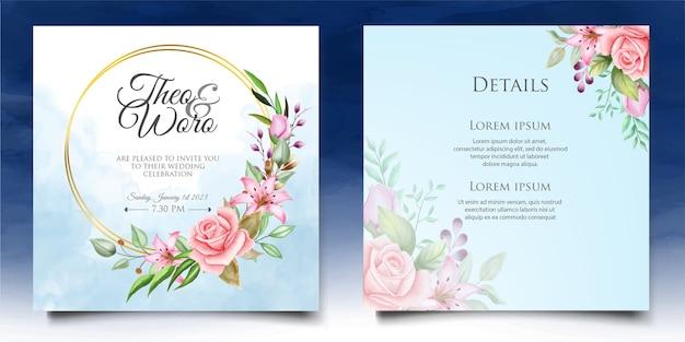 Beau modèle de carte d'invitation de mariage floral aquarelle
