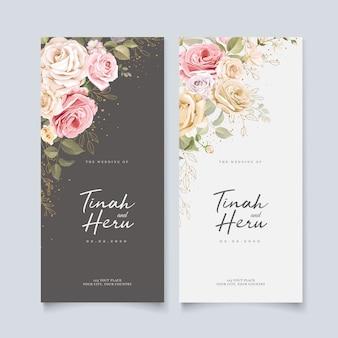 Beau modèle de carte d'invitation de mariage avec floral et feuilles