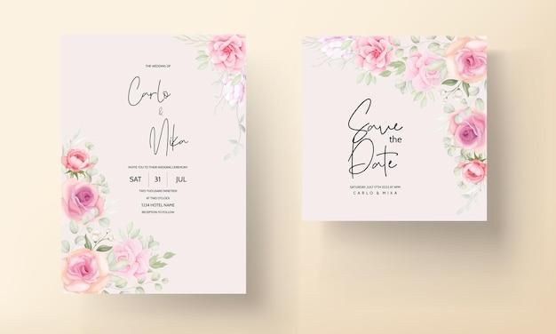 Beau modèle de carte d'invitation de mariage floral